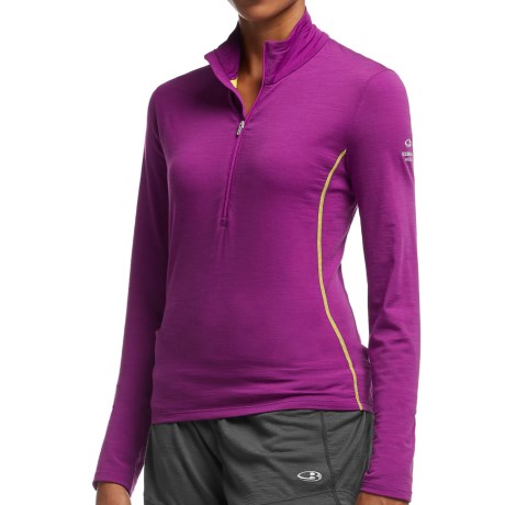 Icebreaker Aero Shirt UPF 30+, Merino Wool, Zip Neck, Long Sleeve (For Women)