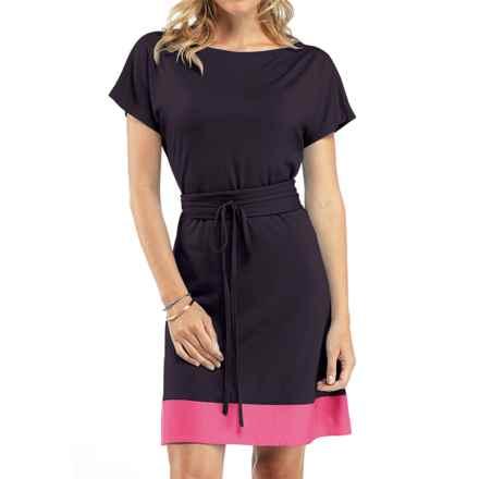 Icebreaker Allure Dress - UPF 30+, Merino Wool, Short Sleeve (For Women) in Cognac/Shocking - Closeouts