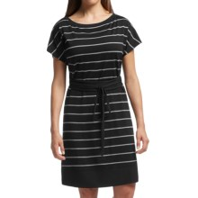 Icebreaker Allure Stripe Dress - UPF 30+, Merino Wool, Short Sleeve (For Women) in Black/Metro Heather/Black - Closeouts