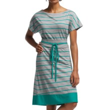Icebreaker Allure Stripe Dress - UPF 30+, Merino Wool, Short Sleeve (For Women) in Metro Heather/Mermaid/Mermaid - Closeouts
