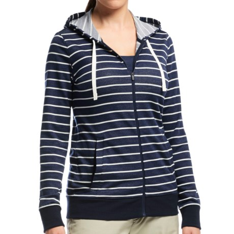 Icebreaker Allure Stripe Zip Hoodie UPF 20 Merino Wool For Women
