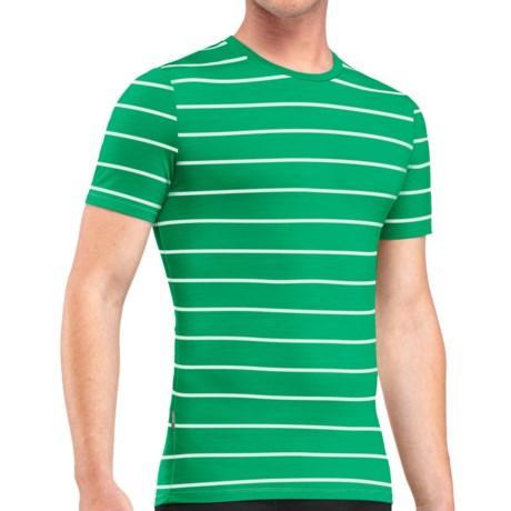 Icebreaker Anatomica Stripe Base Layer T Shirt UPF 30+, Merino Wool, Short Sleeve (For Men)