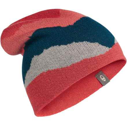 Icebreaker Apex Beanie - Merino Wool (For Men and Women) in Grapefruit/Blizzard Heather/Night - Closeouts