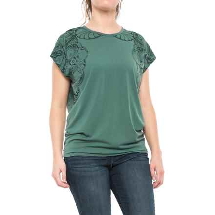 Icebreaker Aria Zen Mirror Tunic Shirt -  Merino Wool, Short Sleeve(For Women) in Canoe/Canoe - Closeouts