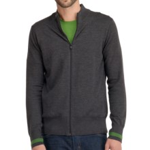 Icebreaker Aries Cardigan Sweater - Merino Wool (For Men) in Jet/Grass - Closeouts