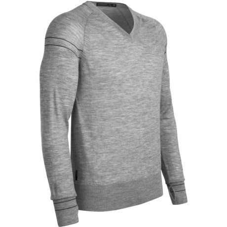 Icebreaker Aries Merino Wool Shirt - V-Neck, Long Sleeve (For Men) in Metro
