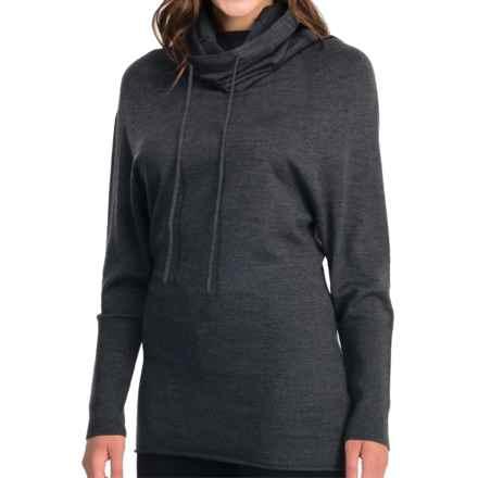Icebreaker Athena Funnel Neck Shirt - Merino Wool, Long Sleeve (For Women) in Jet Heather - Closeouts
