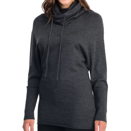 Icebreaker Athena Funnel Neck Shirt - Merino Wool, Long Sleeve (For Women) in Jet