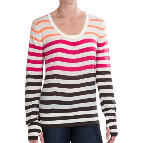 Icebreaker Athena Shirt - UPF 30+, Long Sleeve (For Women) in Snow/Sunshine/Gulf