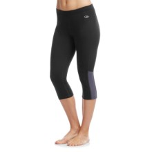 Icebreaker Atom Crop Leggings - Merino Wool (For Women) in Black/Panther - Closeouts