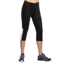 Icebreaker Atom Crop Leggings - Merino Wool (For Women) in Black/Snow - Closeouts