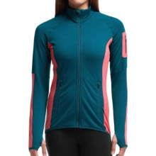 Icebreaker Atom Jacket - Merino Wool, Full Zip (For Women) in Night/Grapefruit/Night - Closeouts