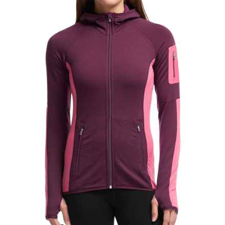 Icebreaker Atom Jacket - Merino Wool, Full Zip, Hooded (For Women) in Maroon/Shocking/Maroon - Closeouts