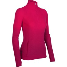 Icebreaker Aurora Sweater - Merino Wool, Zip Neck (For Women) in Cherub/Ruby - Closeouts