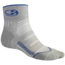 Icebreaker Bike Lite Mini Socks - Merino Wool, Quarter-Crew, Light Cushion (For Men) in B20 Silver/Royal/Silver - Closeouts