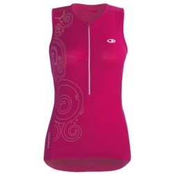 Icebreaker Bike Rhythm Cycling Jersey - Merino Wool, Zip Neck, Sleeveless (For Women) in Cerise