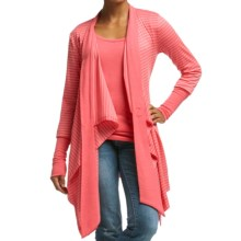 Icebreaker Bliss Stripe Wrap Cardigan Sweater - UPF 20+, Merino Wool (For Women) in Grapefruit/Snow/Grapefruit - Closeouts