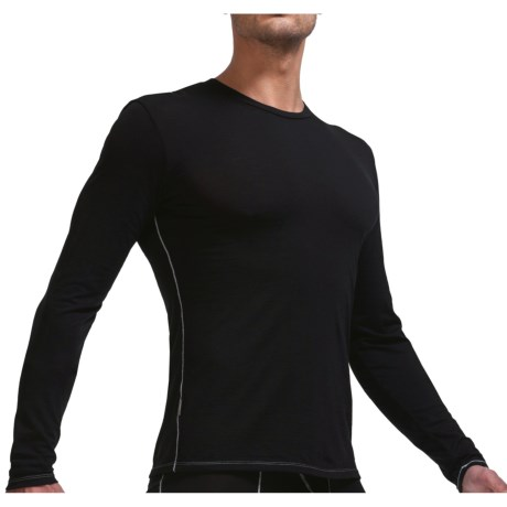 Icebreaker Bodyfit 150 Crew Base Layer Top - Merino Wool, Long Sleeve (For Men) in Black/Mineral
