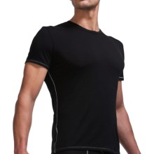Icebreaker Bodyfit 150 Crew Base Layer Top - Merino Wool, Short Sleeve (For Men) in Black/Mineral - Closeouts
