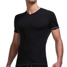 Icebreaker Bodyfit 150 V-Neck Base Layer Top - Merino Wool, Short Sleeve (For Men) in Black/Mineral - Closeouts