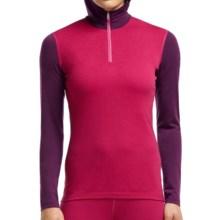 Icebreaker Bodyfit 200 Oasis Base Layer Hooded Top - UPF 30+, Zip Neck, Merino Wool, Long Sleeve (For Women) in Raspberry/Maroon/Shocking - Closeouts