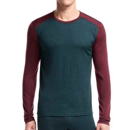 Icebreaker BodyFit 200 Oasis Base Layer Top - Merino Wool, Long Sleeve (For Men) in Nori Heather/Redwood - Closeouts