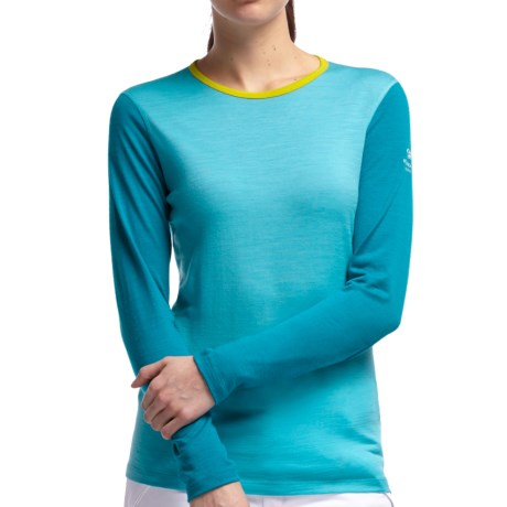 Icebreaker Bodyfit 200 Oasis Base Layer Top - UPF 50+, Lightweight, Merino Wool, Long Sleeve (For Women) in Glacier/Cruise/Chartreuse