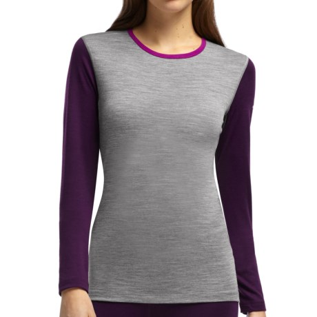 Icebreaker Bodyfit 200 Oasis Base Layer Top - UPF 50+, Lightweight, Merino Wool, Long Sleeve (For Women) in Metro Heather/Vino/Vivid