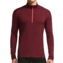 Icebreaker BodyFit 200 Oasis Base Layer Top - Zip Neck, Merino Wool, Long Sleeve (For Men) in Redwood/Redwood/Clay - Closeouts