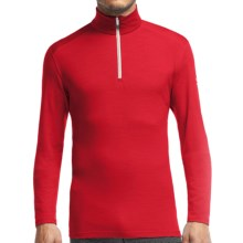 Icebreaker Bodyfit 200 Oasis Base Layer Top - Zip Neck, Merino Wool, Long Sleeve (For Men) in Rocket/Snow - Closeouts