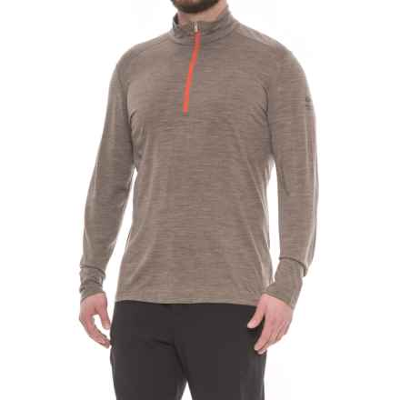 Icebreaker BodyFit 200 Oasis Base Layer Top - Zip Neck, Merino Wool, Long Sleeve (For Men) in Trail Heather - Closeouts