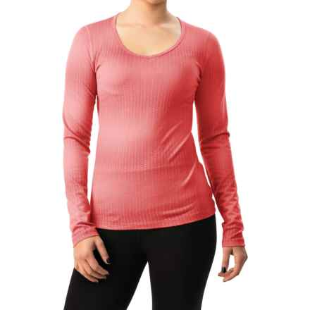 Icebreaker BodyFit 200 Oasis Matrix V-Neck Shirt - Merino Wool, Long Sleeve (For Women) in Cameo/Grapefruit - Closeouts