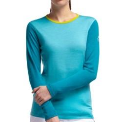 Icebreaker BodyFit 200 Oasis Merino Base Layer Top - UPF 30+, Long Sleeve (For Women) in Glacier/Cruise/Chartreuse