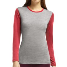 Icebreaker BodyFit 200 Oasis Merino Base Layer Top - UPF 30+, Long Sleeve (For Women) in Metro Heather/Grapefruit/Grapefruit - Closeouts