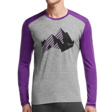 Icebreaker BodyFit 200 Oasis New Streak Base Layer Top - Merino Wool, Crew Neck, Long Sleeve (For Men) in Metro Heather/Emperor - Closeouts