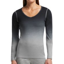 Icebreaker Bodyfit 200 Oasis V Dawn dipdye Base Layer Top - Lightweight, Merino Wool, Long Sleeve (For Women) in Mineral/Black - Closeouts