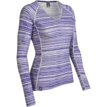 Icebreaker Bodyfit 200 Oasis V Ripple Base Layer Top - Merino Wool, Long Sleeve (For Women) in Horizon Organic Stripe - Closeouts