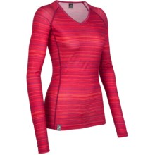 Icebreaker Bodyfit 200 Oasis V Ripple Base Layer Top - Merino Wool, Long Sleeve (For Women) in Ruby - Closeouts