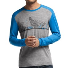 Icebreaker Bodyfit 200 Oasis Winter Alps Base Layer Top - UPF 30+, Lightweight, Merino Wool, Long Sleeve (For Men) in Metro Heather/Aegean - Closeouts