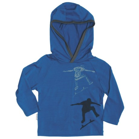 Icebreaker Bodyfit 200 Skater Hooded Shirt - Merino Wool, Long Sleeve (For Boys) in Splash/Cave