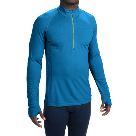 Icebreaker BodyFit 200 Zone Base Layer Top UPF 40 Merino Wool Zip Neck Long Sleeve For Men