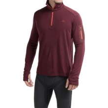 Icebreaker Bodyfit 260 Apex Zip Neck Shirt - UPF 30+, Merino Wool, Long Sleeve (For Men) in Redwood/Redwood/Clay - Closeouts