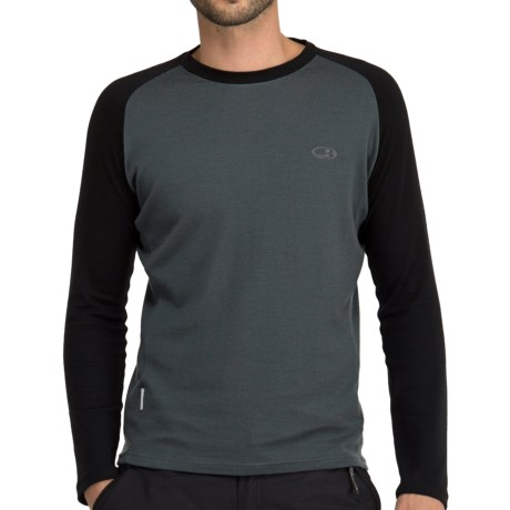 Icebreaker Bodyfit 260 Base Layer Top - Merino Wool, Long Sleeve (For Men) in Charcoal/Black