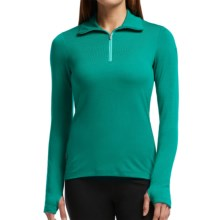 Icebreaker Bodyfit 260 Tech Base Layer Top - UPF 30+ Merino Wool, Midweight, Zip Neck, Long Sleeve (For Women) in Nautical/Patina - Closeouts