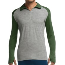 Icebreaker Bodyfit 260 Tech Base Layer Top - UPF 30+, Midweight, Merino Wool, Zip Neck, Long Sleeve (For Men) in Metro Heather/Conifer/Balsam - Closeouts