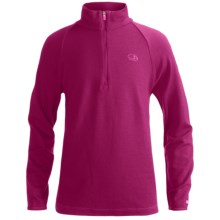 Icebreaker Bodyfit 260 Tech Base Layer Top - UPF 39+, Merino Wool, Zip Neck, Long Sleeve (For Kids) in Cerise - Closeouts