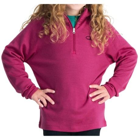 Icebreaker Bodyfit 260 Tech Base Layer Top - UPF 39+, Merino Wool, Zip Neck, Long Sleeve (For Kids) in Magenta/Lotus