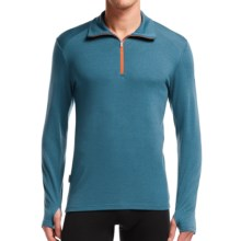 Icebreaker BodyFit 260 Tech Base Layer Zip Neck Top - UPF 30+, Merino Wool, Long Sleeve (For Men) in Shore/Shore/Spark - Closeouts