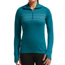 Icebreaker Bodyfit 260 Tech Fair Isle Top - Merino Wool, Zip Neck, Long Sleeve (For Women) in Alpine/White - Closeouts