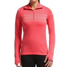 Icebreaker Bodyfit 260 Tech Fair Isle Top - Merino Wool, Zip Neck, Long Sleeve (For Women) in Grapefruit/White - Closeouts